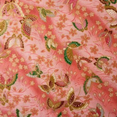 Tissu japonais rose papillons et fleurs de cerisier