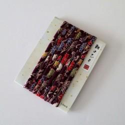 Cordon chirimen violet fleurs 1,8m long 6mm diamètre