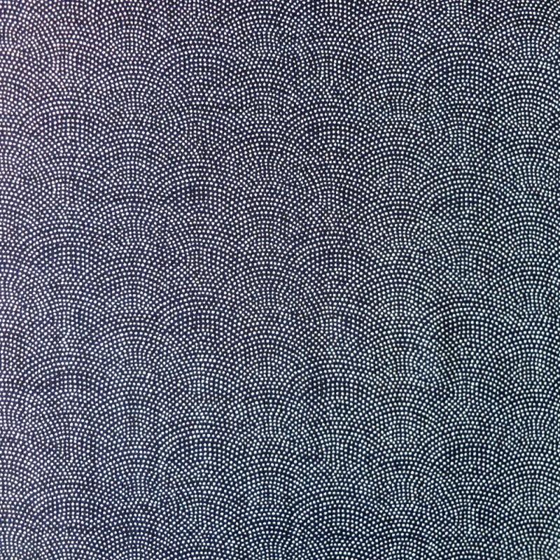 Tissu coton fond bleu noir vagues en points blancs