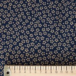Tissu bleu foncé motif petites fleurs de cerisier