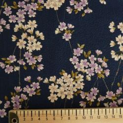 Tissu bleu marine gaufré motifs de petites fleurs de cerisier