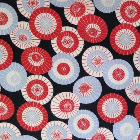 Tissu japonais rouge et noir motifs d'ombrelles