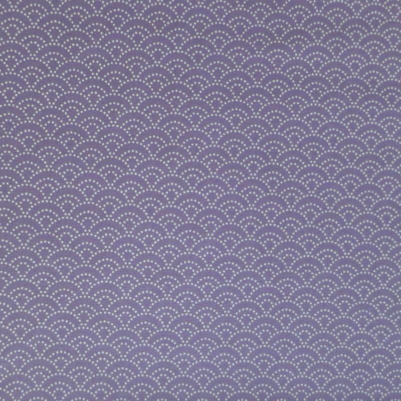 Tissu japonais parme petit seigaiha petits points