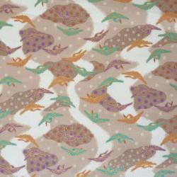 Tissu japonais grues sur fond beige