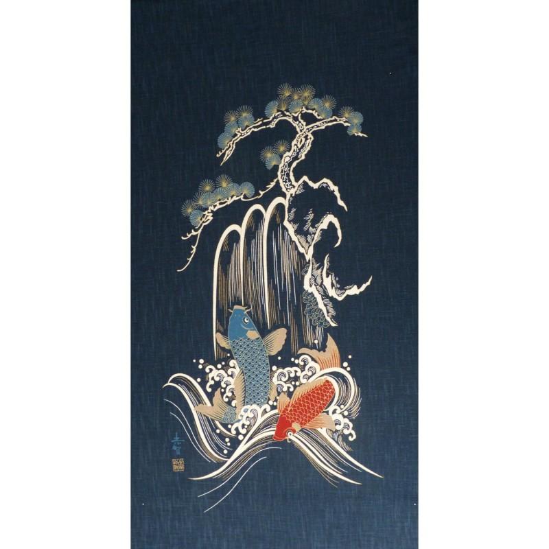 Panneau de tissu motif de carpes, cascade et arbre 110cm haut x 49cm large