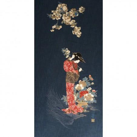 Panneau de tissu motif de japonaise en kimono avec fleurs 110cm haut x 48cm large
