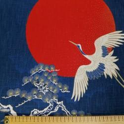 Panneau de tissu motif de grues, pin et soleil 110cm haut x 49cm large