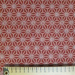 Tissu japonais asanoha moyen rouge faux uni motifs écru