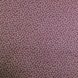 Tissu rouge foncé motif petites fleurs de cerisier