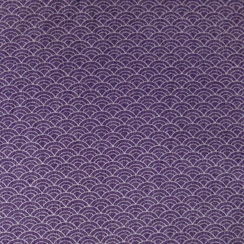 Tissu japonais violet et écru petit seigaiha vagues traits