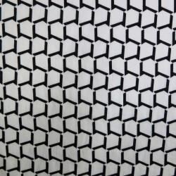 Tissu japonais coton léger motifs géométriques noirs fond blanc - pour chemisiers