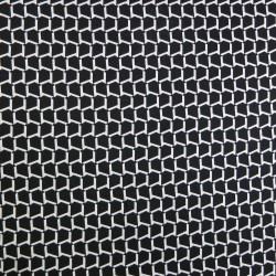 Tissu japonais coton léger motifs géométriques blancs fond noir - pour chemisiers