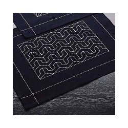 Kit sashiko 1 set de table motif vagues seigaiha