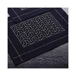 Kit sashiko 1 set de table motif vagues seigaiha