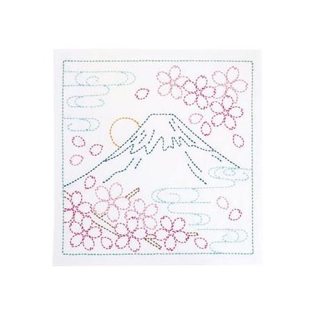 Coupon tissu sashiko blanc pré-imprimé Mt Fuji et fleurs de cerisier