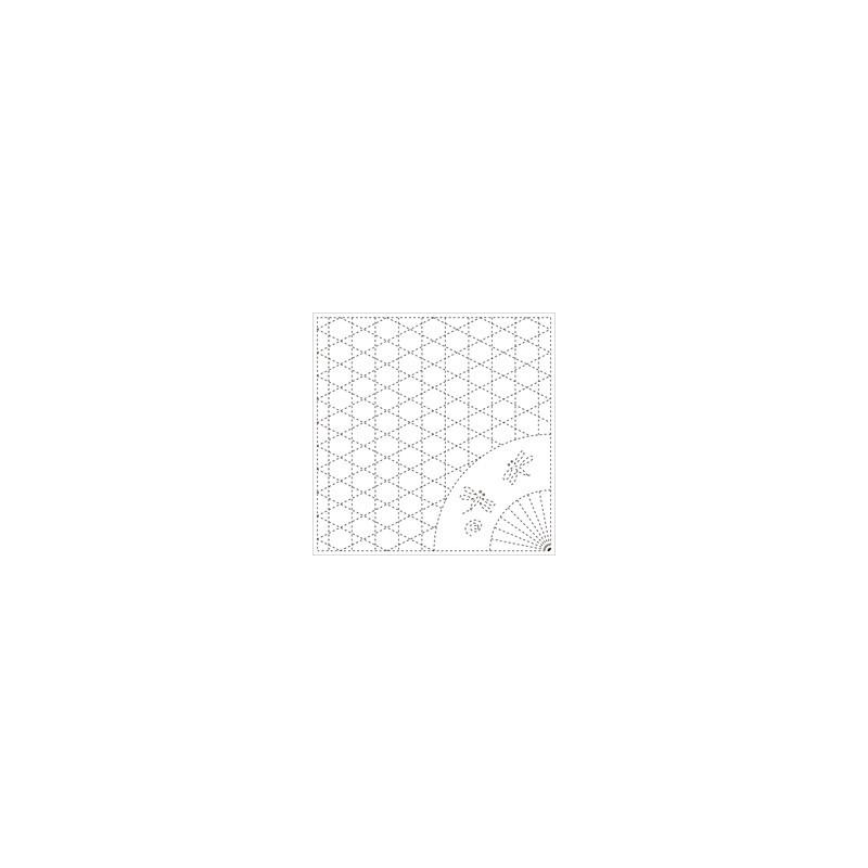 Coupon tissu sashiko blanc pré-imprimé maille de corbeille et libellule