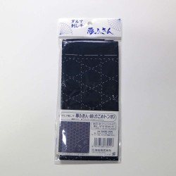 Coupon tissu sashiko bleu nuit pré-imprimé maille de corbeille et libellule
