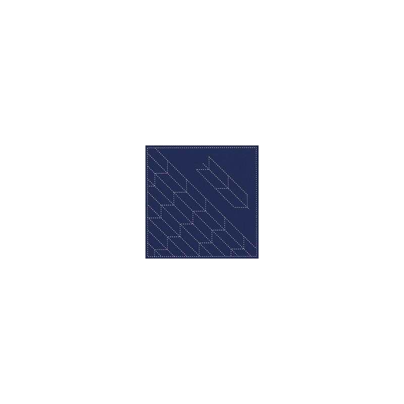 Coupon tissu sashiko bleu nuit pré-imprimé flèches yabane