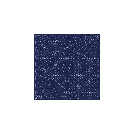 Coupon tissu sashiko bleu nuit pré-imprimé éventails et asanoha