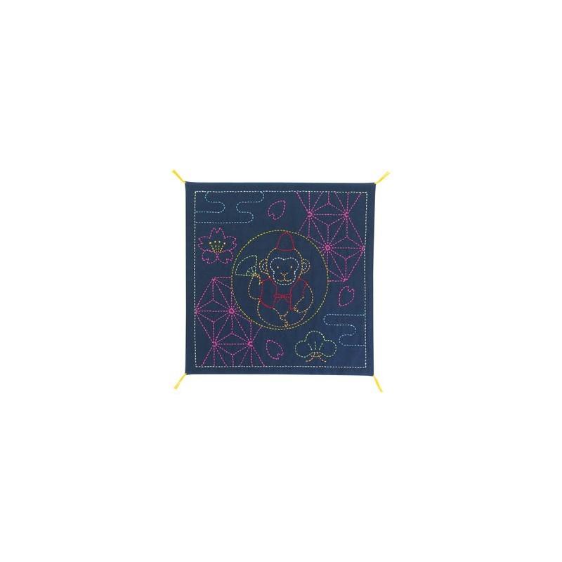 Coupon tissu sashiko bleu nuit pré-imprimé singe et asanoha