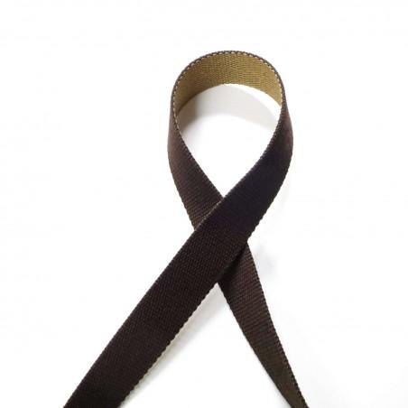 Sangle réversible marron et beige sable 30mm de large vendue au mètre pour anses de sacs