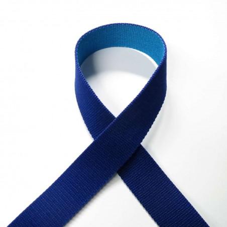 Sangle réversible bleu marine et turquoise 30mm de large vendue au mètre pour anses de sacs