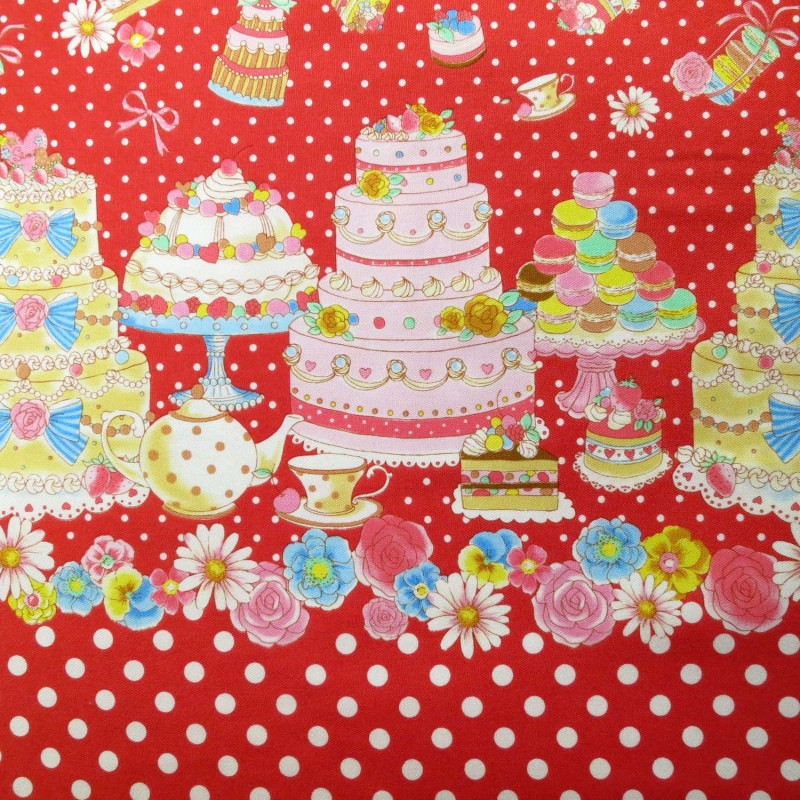 Cakes and dots on red border print fabric