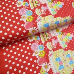 Tissu lolita rouge pois blancs et pâtisseries