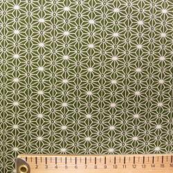 Tissu japonais vert kaki petit asanoha