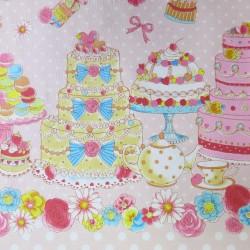 Tissu lolita rose pois blancs et pâtisseries