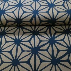 Tissu très grands motifs asanoha bleu nuit fond marron grande largeur (150cm) épais