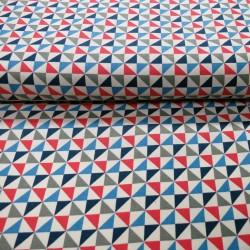 Tissu japonais triangles bleus gris rouges fond blanc cassé