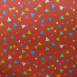Velours côtelé rouge capucine triangles jaunes bleus verts roses blancs