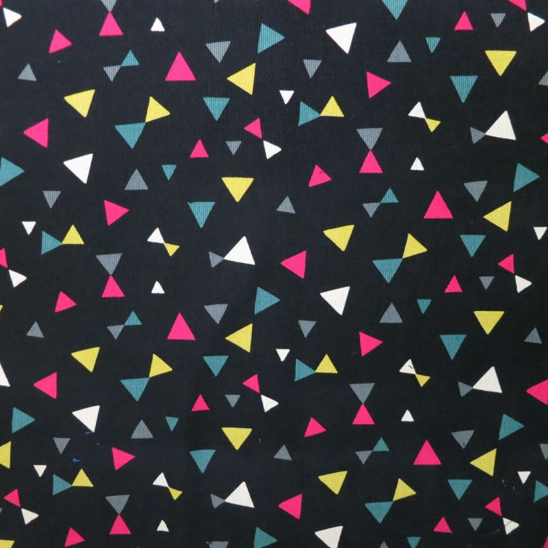 Black corduroy with light green, white, yellow, fuchsia pink triangles