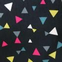 Velours côtelé noir triangles gris fuchsia jaunes blancs verts