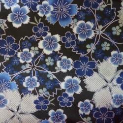 Tissu japonais satin fluide fleurs de cerisier bleues