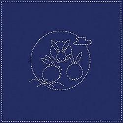 Coupon tissu sashiko bleu nuit pré-imprimé lapins