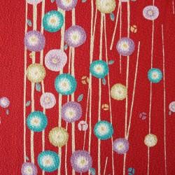 Tissu chirimen rouge fleurs