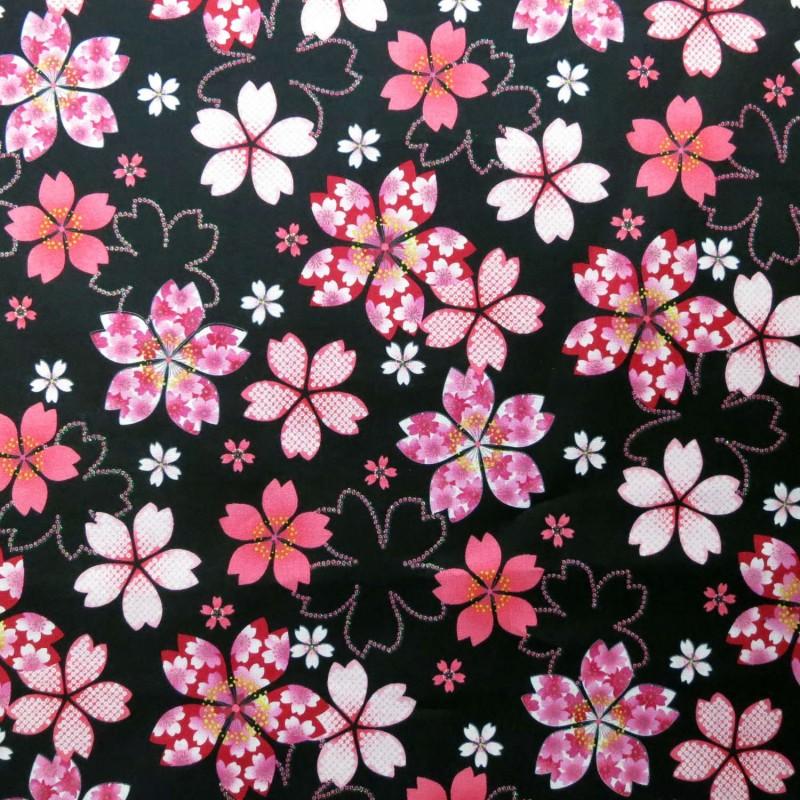 Tissu japonais noir fleurs de cerisier roses paillettes