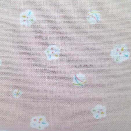 Tissu japonais rose balles et fleurs