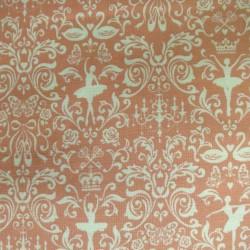 Tissu rose pêche motifs danse classique et cygnes
