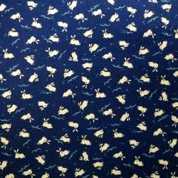Tissu japonais bleu nuit faux uni motif lapins
