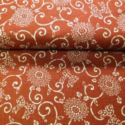 Tissu japonais rouge faux uni motif fleurs arabesques et noeuds