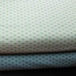 Tissu vert menthe motifs petits asanoha vert foncé