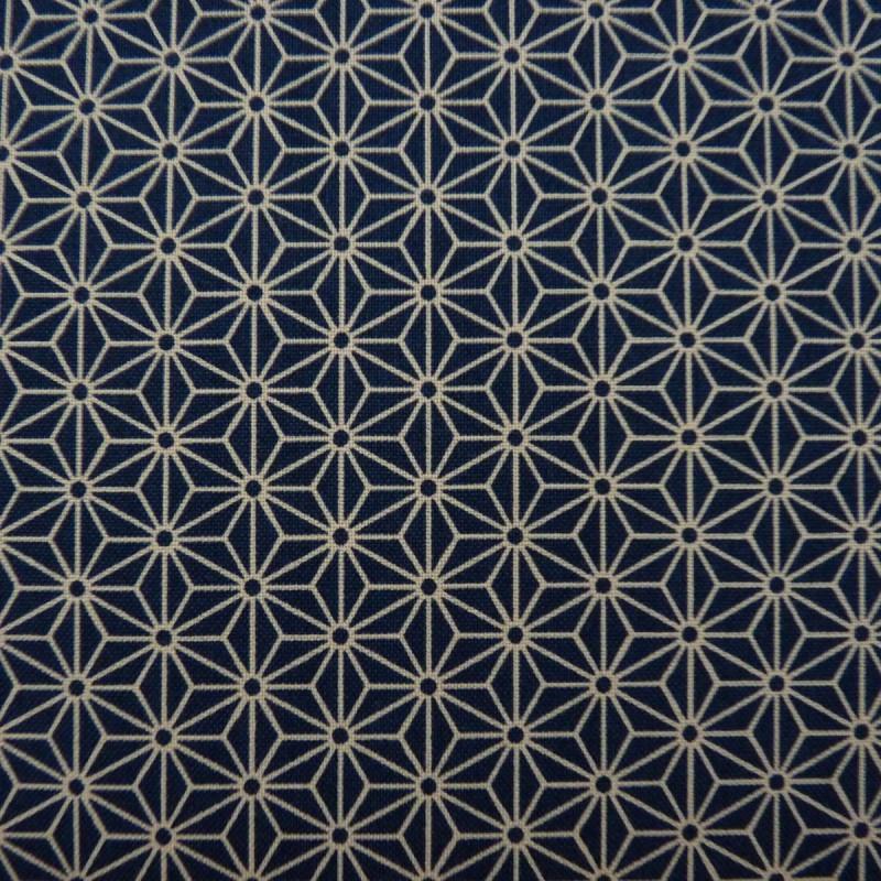 Tissu bleu foncé motif petit asanoha