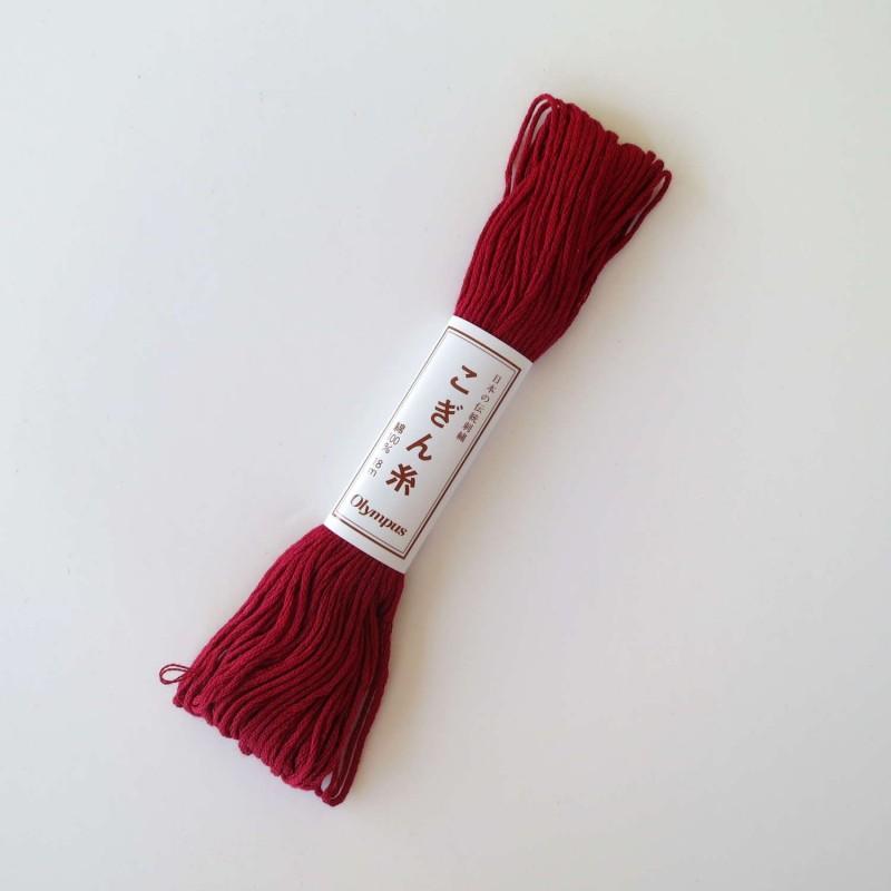 Fil rouge foncé couleur vin pour broderie kogin 18m