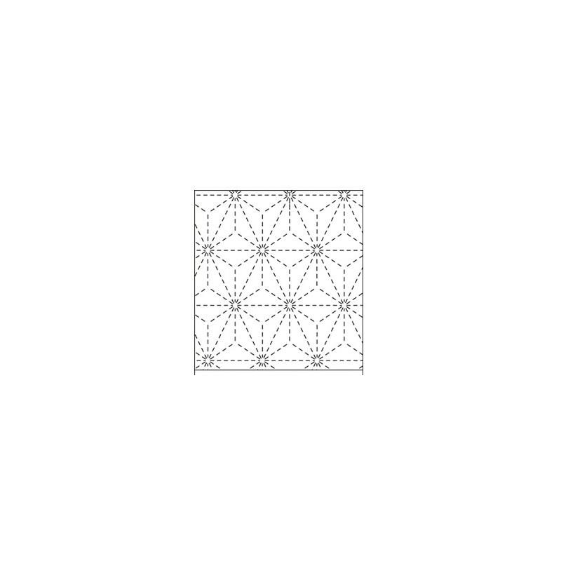 Coupon tissu sashiko blanc pré-imprimé asanoha
