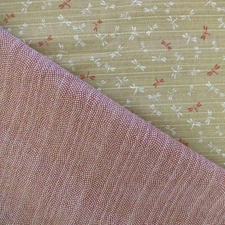 Tissu japonais réversible pour furoshiki vagues points rouges libellules fond beige