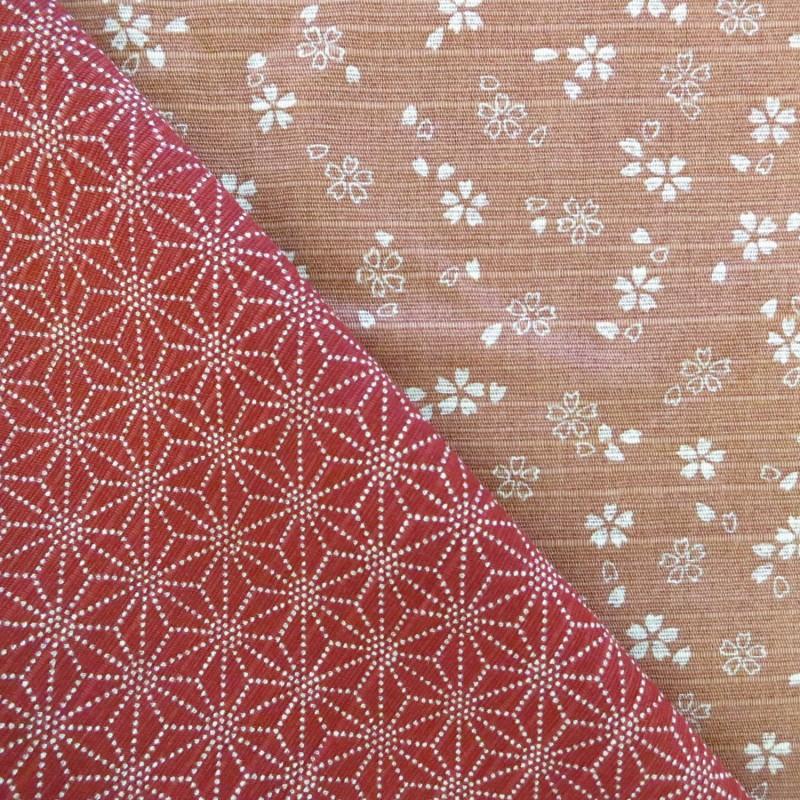 Tissu japonais réversible pour furoshiki fleurs de cerisier vieux rose asanoha rouge