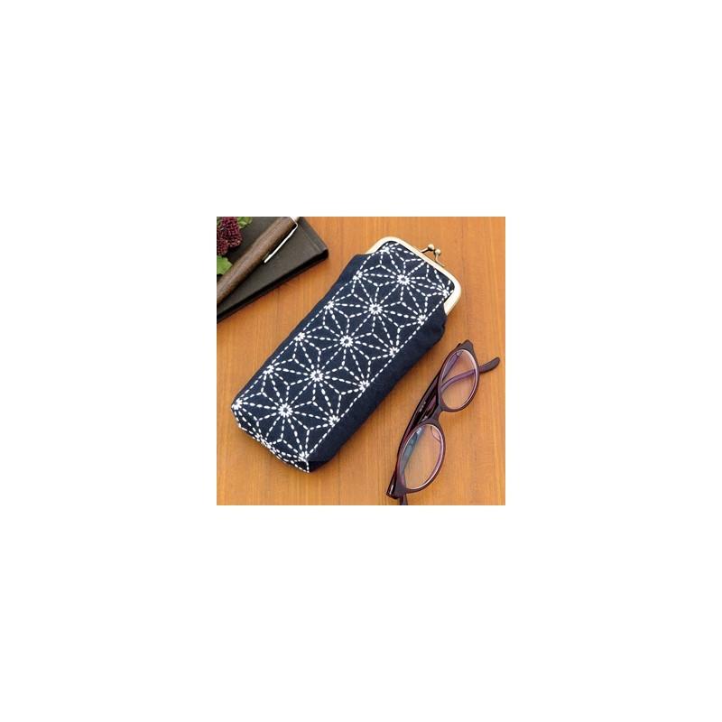 Kit sashiko étui à lunettes motifs asanoha